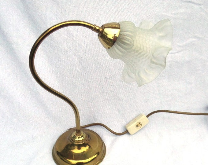 "Brass Table Lamp, Art Nouveau Style, Mid Century Table Lamp, Exquisite Shape, Opaque Molded Glass Shade 12.25"" x 10.5"" x 5"" Must be Re-wired"