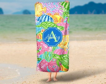 Personalized Beach Towel - Preppy Tropical - Multiple Sizes