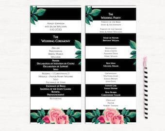 Roses wedding programs Striped wedding Ceremony program template Modern wedding Floral program printable Unique wedding program card 1W39