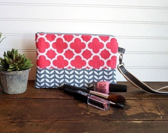 Clutch Bag - Pink and Gray Clutch with Removable Handle, Pink Zipper Clutch Bag