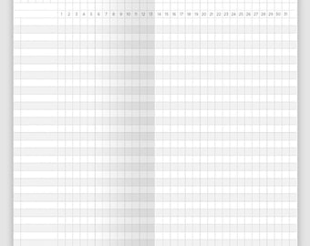Personal Size Monthly Tracker Grid - Printable Traveler's Notebook Insert, Minimalist, Clean - UNDATED