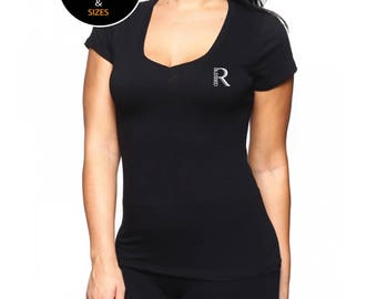 Real Blessed Women Logo Deep V Neck Scoop Neck T Shirt - Black