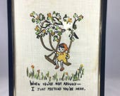 Embroidered Picture of Girl on a Swing in Frame - Vintage Embroidered Friendship Picture - Going Away Gift