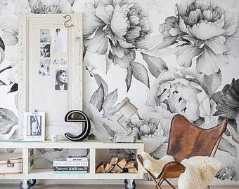 White Peony Removable Wallpaper Peonies Wall Mural Black And White Peony Wallpaper Peel