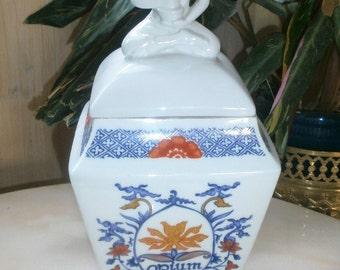 Rare Big French Apothecary jar OPIUM Buddha//Porcelaine de PARIS//Pot d'apothicaire//OPIUM//Bouddha