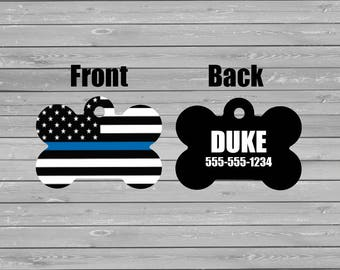 Pet Tags, Personalized Pet Tag, Thin blue line, Police, Dog Tag, Custom Tag, Cat Tag, Pet Accessory, Pet ID Tag, Double Sided, Police