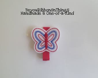 Butterfly | Patriotic | Hair Clips for Girls | Toddler Barrette | Kids Hair Accessories | Red Grosgrain Ribbon | Felties | No Slip Grip