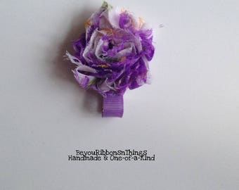 Mini Shabby | Purple Flowers | Hair Clips for Girls | Toddler Barrette | Kids Hair Accessories | Grosgrain Ribbon | No Slip Grip