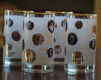 Set of 4 Vintage Frosted Coin Highball Glasses/ Black and Gold Coins/ Foreign Coins