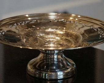 Silver Plated on Copper  Viking Compote Plate E.P. Copper/Made in Canada/10 inches/ Tazza/ Elegant Serving/ Elegant Wedding Decor