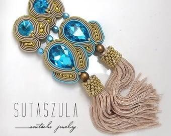 Long clip on earrings, colorful soutache earrings, summer clip earrings, soutache jewelry, long blue earrings, long colorful earrings