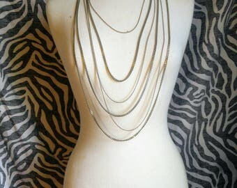 Silver Stacked Chain Necklace