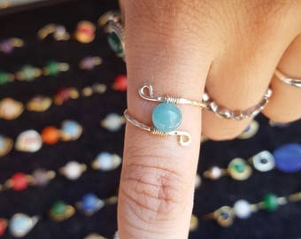 Jade ring, wire wrapped ring, stackable ring, stacking ring, hammered ring, rings, handmade ring