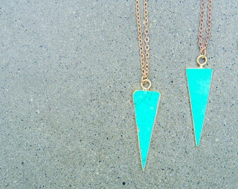 Turquoise Necklace - Triangle Pendant Necklace - Gold Turquoise Necklace - Turquoise Pendant