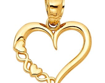 14K Solid Yellow Gold Open Love Heart Ladies Pendant Charm