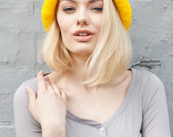 Summer | Cat | Hat | Crochet | Raffia | Yellow