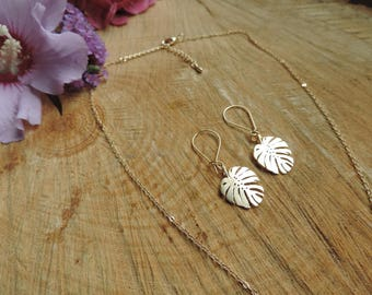 Tropical Leaf Earrings, exotic, summer, foliage, gold, nature, romantic
