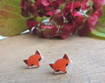 Fox Earrings, baby fox, silver, resin, animal, love, romantic