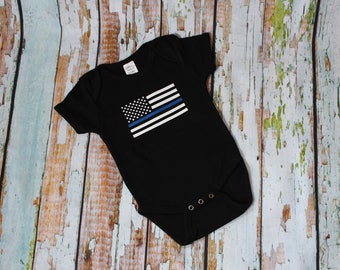 Thin Blue Line Baby Onesie - Law Enforcement - Back the Blue - American Flag - Blue Lives Matter - Police - Creeper Bodysuit