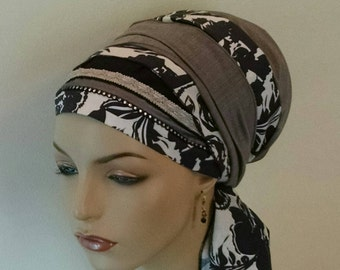 Special floral sinar tichel, tichels, chemo scarves, head scarves, hair snoods, head wraps