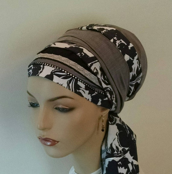 Special floral sinar tichel, tichels, chemo scarves, head scarves, hair snoods, head wraps