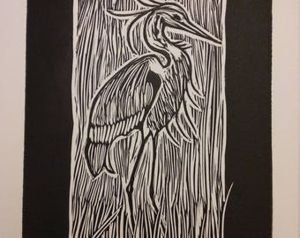 Heron Block Print Handmade Blank Greeting Card