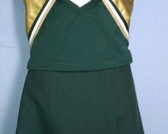 "Green Gold Cheerleader Uniform Football Halloween Costume Cosplay Top 36"" 38 40"""