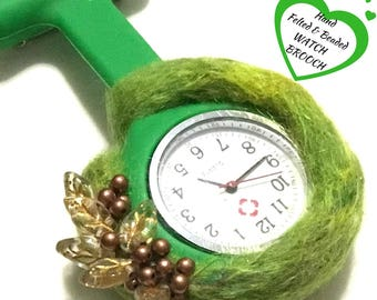 Green Felted Watch Brooch, Great Christmas Gift, Designer Watch,Hand Beaded Watch Brooch,Designer brooch,Specialty Gift, Free local Shipping
