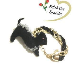 Black Felted Cat Bracelet, Black Beaded Cat Bracelet, Needle Felted Hand Crafted Bracelet, On Trend Gift, Unique Gift Bracelet, Velvet Pouch