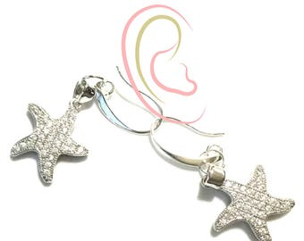 Sparkling Starfish Earrings, Gift for Her, Platinum Earrings, Silver Starfish Earrings, On Trend Earrings, Anytime Gift, Stylish Gift