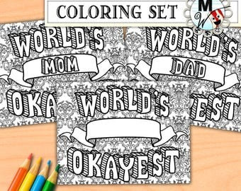 World's Okayest Mom, Dad, Boss, Brother, Sister, Blank Coloring Pages - World's Okayest Coloring Page Set - Printable for Kids and Adults
