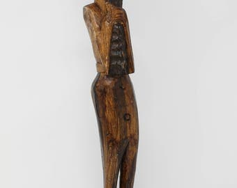 Tribal Wood Statue, Jamaica Wood Carving, Wood Man Carving, Hand Carved Statue, Vintage Wooden Statue, Cottage Decor, Old Wood Carving