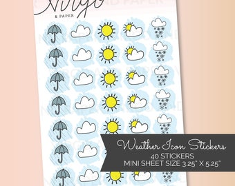 Mini Weather Icons Hand Drawn Planner Stickers - Rain, Sunshine, Partly Cloudy, Snow - Matte/Glossy planner stickers MWEA