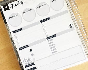 Neutral Notes Page Kit - Monthly Sticker Kit - Neutral Monthly Note Kit Glossy/Matte Stickers NNEU