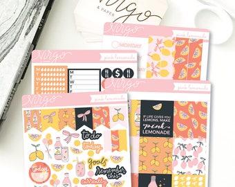 Horizontal Kit - Pink Lemonade - Summer June July August Planner Sticker Kit - Weekly Hand Drawn Horizontal Sticker Kit - Glossy, Matte LMKH