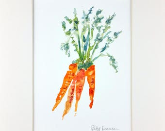Original Watercolor, Carrot Watercolor, Vegetable Watercolor, Carrot Painting, Kitchen Decor