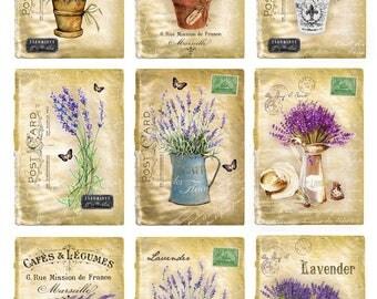 Digital Image Provance Lavender Cards 1 - Digital collage sheet, Printable Download, Digital Tags, Digital Vintage, ATC Card, Vintage Cards