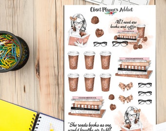 Book Lovers and Coffee Planner Stickers | Limited Release | Mystery Grab Bag February 2017 | Books Stickers | Reading Stickers (MGB-FEB17)