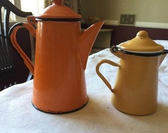 Two Yellow & Orange Enamel Carafes/Teapots Vintage