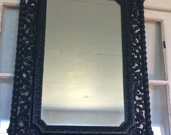 70s Vintage Black Baroque Antique Mirror; Syroco Wall Mirror; Ornate Mirror; Shabby Chic Mirror; Mid Century Modern; Home Decor; Wall Decor