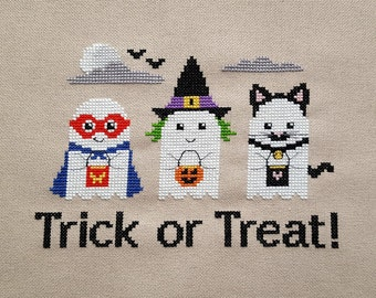 Trick or Treat Ghosts cross stitch - pattern only