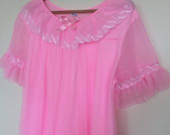 SABRINA - pink chiffon nightie with ruffles, restored vintage lingerie (1960s/1970s)