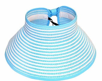Blue Stripes Rollup Visor Hat
