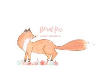 logotipo de boutique de niños, Fox Logo, Logo de Fox Floral, insignia infantil, logotipo, Logo de moda infantil, Boutique marca insignia,