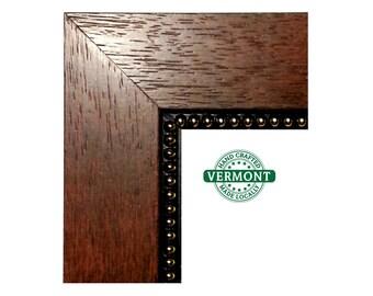 Mahogany Wood Picture Frame, Gold Beaded Lip, Square, Photo, Document, Diploma, 5x7 8x10 8 1/2 x11 9x9 11x14 12x12 16x20 17x20 24x30 24x36