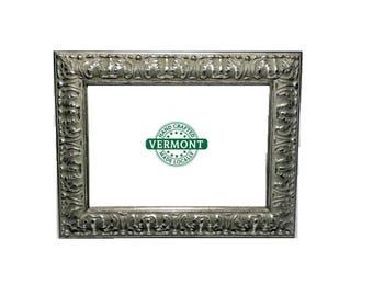Set of 2 - Ornate SILVER Picture Frame Set, Petina Silver Photo Frame Set, Antique Silver 4x6, 5x7, 8x10 Frame, Glass, Backer, Easel Back
