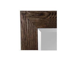 42x30 wide barnwood mirror handmade tree bark barn wood framed mirror dark - Wood Framed Mirror
