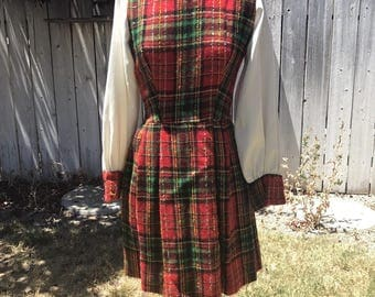 Vintage 1970s Red Plaid Christmas Dress w/ Turtleneck Vest and Metallic Plaid! XS/S MIDGE GRANT!