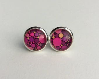 Pink & Purple Bubble 10mm Round Glass Dome Stud Earrings