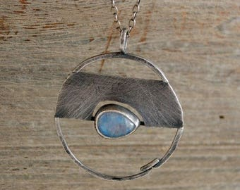 moonstone silver pendant necklace,  oxidized silver pendant necklace